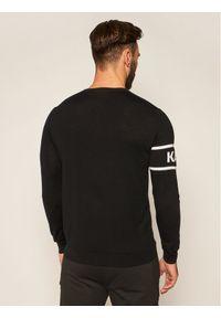 Czarny sweter klasyczny Karl Lagerfeld z dekoltem karo