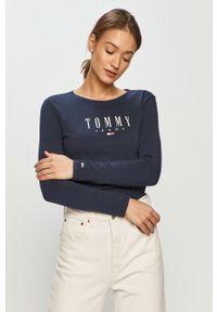 Niebieska bluzka z długim rękawem Tommy Jeans na co dzień, z nadrukiem, casualowa