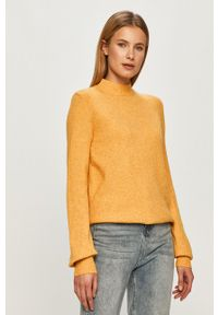 Żółty sweter Vila z długim rękawem, długi, na co dzień, casualowy