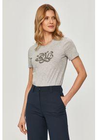 Szara bluzka Lauren Ralph Lauren casualowa, z aplikacjami, na co dzień #5