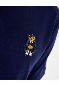 Ralph Lauren - RALPH LAUREN - Granatowa koszulka z misiem Custom Slim Fit. Typ kołnierza: polo. Kolor: niebieski. Materiał: bawełna, prążkowany. Wzór: haft #6
