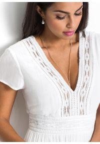 Biała sukienka bonprix maxi, z krótkim rękawem