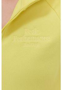 Peak Performance - Bluza. Okazja: na co dzień. Typ kołnierza: kaptur. Kolor: żółty. Materiał: dzianina. Długość rękawa: raglanowy rękaw. Styl: casual