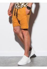 Ombre Clothing - Krótkie spodenki męskie dresowe W223 - żółte - XXL. Kolor: żółty. Materiał: dresówka. Długość: krótkie. Wzór: aplikacja. Styl: klasyczny
