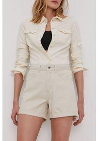 Vero Moda - Szorty jeansowe. Okazja: na co dzień. Stan: podwyższony. Kolor: beżowy. Materiał: jeans. Wzór: gładki. Styl: casual