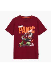 Cropp - Koszulka z nadrukiem - Bordowy. Kolor: czerwony. Wzór: nadruk