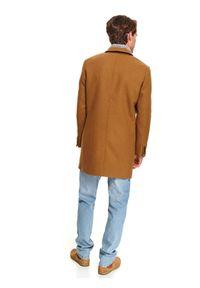 TOP SECRET - Klasyczny płaszcz dwurzędowy z wełnianej tkaniny. Materiał: tkanina, wełna. Sezon: zima. Styl: klasyczny