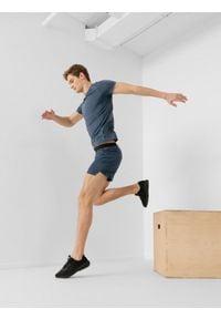 4f - Spodenki do biegania męskie. Kolor: szary. Materiał: skóra, dzianina. Sport: fitness