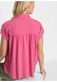 Różowa bluzka bonprix z krótkim rękawem, z koszulowym kołnierzykiem