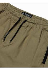 Ombre Clothing - Spodnie męskie joggery P960 - oliwkowe - XXL. Kolor: oliwkowy. Materiał: bawełna, materiał