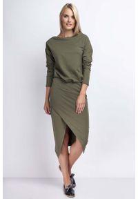 Nommo - Khaki Casualowa Midi Sukienka z Kopertowym Dołem. Okazja: na co dzień. Kolor: brązowy. Materiał: bawełna. Typ sukienki: kopertowe. Styl: casual. Długość: midi