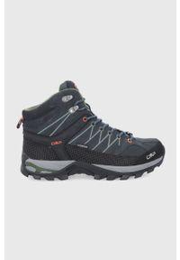 Czarne buty trekkingowe CMP na sznurówki, z cholewką, z okrągłym noskiem