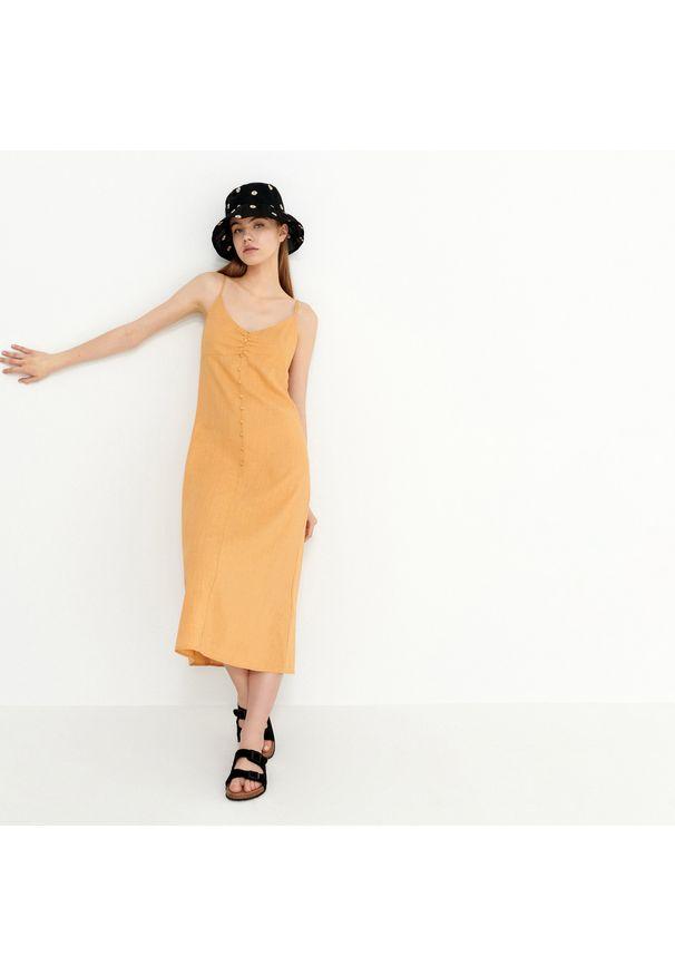 Żółta sukienka House midi
