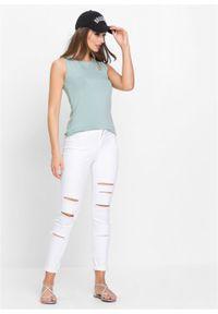 Spodnie SKINNY z wysoką talią i z przetarciami bonprix biały. Kolor: biały