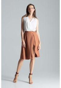 Figl - Brązowa Asymetryczna Spódnica w Kształcie Litery A. Kolor: brązowy. Materiał: poliester