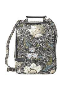 Czarna torebka Ceannis przez ramię, w kwiaty, klasyczna