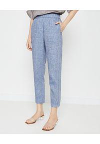 PESERICO - Niebieskie spodnie z lnu. Stan: podwyższony. Kolor: niebieski. Materiał: len. Wzór: aplikacja