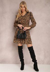 Renee - Czarno-Beżowa Sukienka Gwynyne. Typ kołnierza: dekolt w kształcie V, kołnierz z falbankami. Kolor: czarny. Materiał: tkanina. Długość rękawa: długi rękaw. Wzór: aplikacja. Typ sukienki: koszulowe. Długość: mini