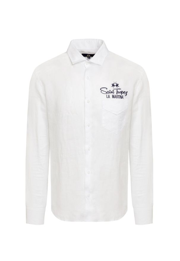 La Martina - Koszula lniana LA MARTINA. Typ kołnierza: button down. Materiał: len. Wzór: aplikacja, nadruk. Styl: wakacyjny