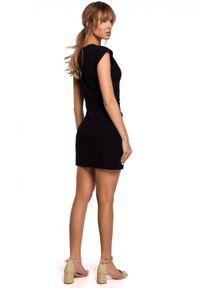 MOE - Bawełniana sukienka mini z wiązaniem na lato. Materiał: bawełna. Długość rękawa: krótki rękaw. Sezon: lato. Typ sukienki: dopasowane. Długość: mini