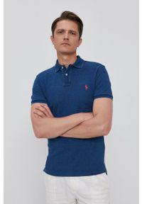 Polo Ralph Lauren - Polo. Typ kołnierza: polo. Kolor: niebieski. Materiał: dzianina. Długość: krótkie. Wzór: gładki