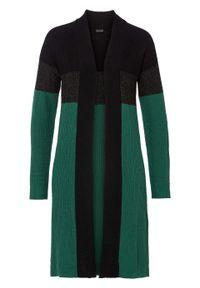 Długi sweter bez zapięcia bonprix zielono-czarny. Kolor: zielony. Długość: długie