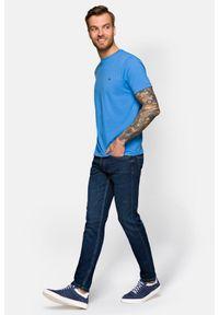Niebieskie jeansy Lancerto eleganckie, z aplikacjami