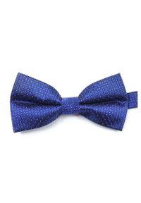 Vernon - Niebieska Mucha w Drobny Wzór, Męska. Kolor: niebieski. Wzór: grochy. Styl: sportowy, elegancki