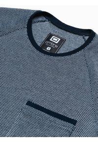 Ombre Clothing - T-shirt męski bez nadruku S1460 - granatowy - XXL. Kolor: niebieski. Materiał: bawełna, dzianina, jeans, poliester. Długość rękawa: raglanowy rękaw