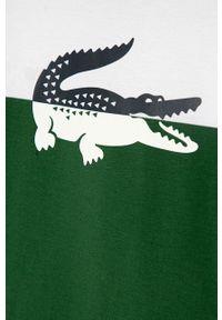 Zielony t-shirt Lacoste casualowy, na co dzień