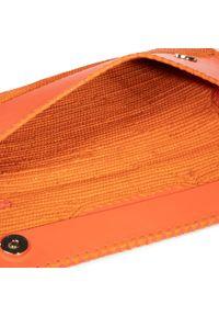 Pomarańczowa kopertówka Patrizia Pepe skórzana, z aplikacjami