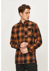 Pomarańczowa koszula Jack & Jones długa, na co dzień, klasyczna
