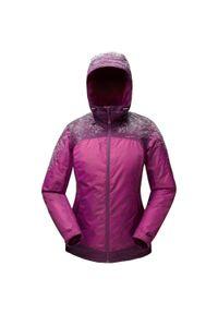 quechua - Kurtka turystyczna zimowa - SH100 x-warm - damska. Kolor: fioletowy. Materiał: tkanina, polar. Sezon: zima