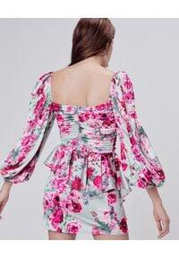 For Love & Lemons - FOR LOVE & LEMONS - Sukienka w kwiaty Robin. Kolor: niebieski. Materiał: materiał. Wzór: kwiaty. Typ sukienki: asymetryczne. Długość: mini