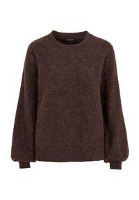 Brązowy sweter Freequent na jesień, melanż