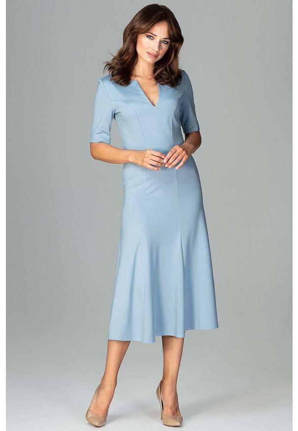 Niebieska sukienka Katrus midi, wizytowa
