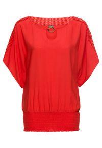 Czerwona tunika bonprix w koronkowe wzory