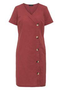 Czerwona sukienka bonprix na lato, z dekoltem w serek