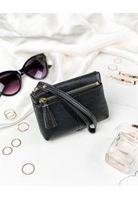 MILANO DESIGN - Portmonetka damska czarna Milano Design SF1863-KLP BLACK. Kolor: czarny. Materiał: skóra ekologiczna. Wzór: aplikacja