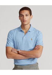 Ralph Lauren - RALPH LAUREN - Niebieska koszulka polo Custom Fit. Typ kołnierza: polo. Kolor: niebieski. Materiał: bawełna, prążkowany. Wzór: kolorowy, haft, melanż. Styl: sportowy