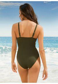 Kostium kąpielowy shape Level 1, przyjazny dla środowiska bonprix ciemnozielono-biały. Kolor: zielony. Materiał: materiał