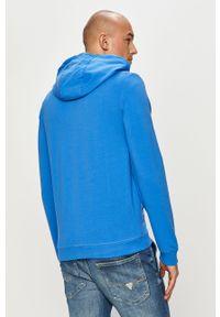 Niebieska bluza rozpinana Guess z kapturem, casualowa, na co dzień, z aplikacjami