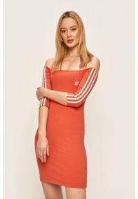 Pomarańczowa sukienka adidas Originals z aplikacjami, prosta