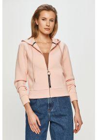 Różowa bluza rozpinana Guess casualowa, na co dzień, z kapturem, gładkie