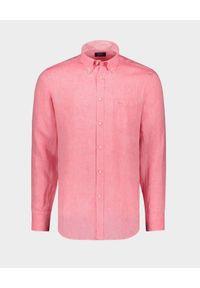 PAUL & SHARK - Lniana koszula z haftowanym logo. Typ kołnierza: button down. Kolor: czerwony. Materiał: len. Długość rękawa: długi rękaw. Długość: długie. Wzór: haft. Sezon: lato. Styl: klasyczny