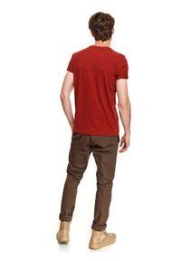 Brązowy t-shirt TOP SECRET z krótkim rękawem, na co dzień