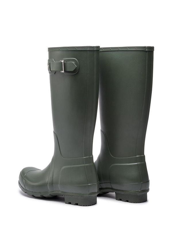 Zielone buty zimowe Hunter eleganckie, z cholewką