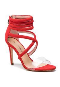 Czerwone sandały Eva Minge na obcasie, wizytowe