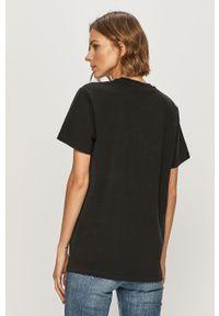 Czarna bluzka AllSaints z nadrukiem, casualowa, na co dzień