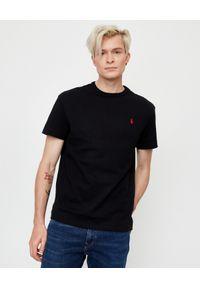 Czarny t-shirt Ralph Lauren z haftami, na co dzień, klasyczny